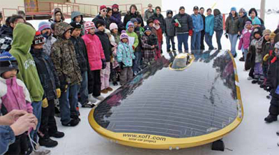 Marcelo visiting with a group of native children on his travels to the Arctic Circle