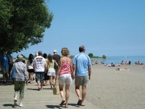 People walking on the boardwalk