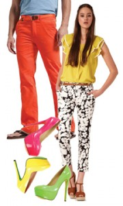 Orange pants, patterned pants, funky shoes