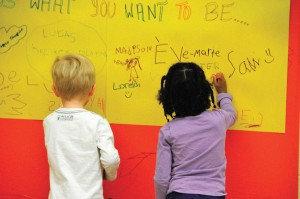 Kids writing on mural paper