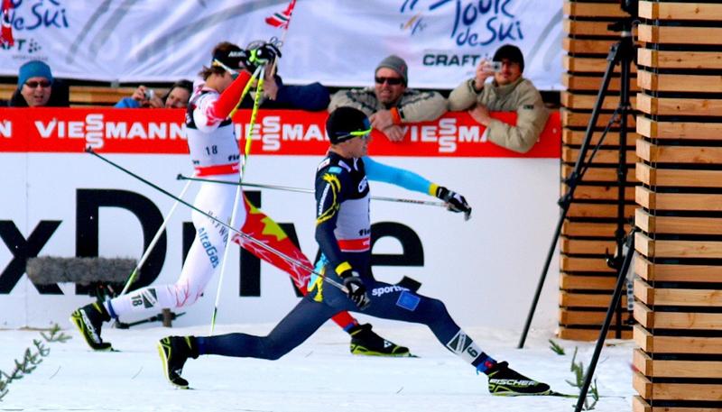 Lenny Valjas skiing finish