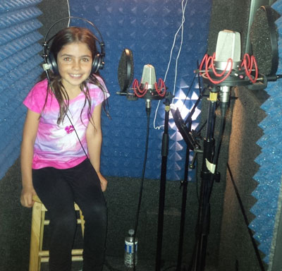 Jenna Weir at recording studio