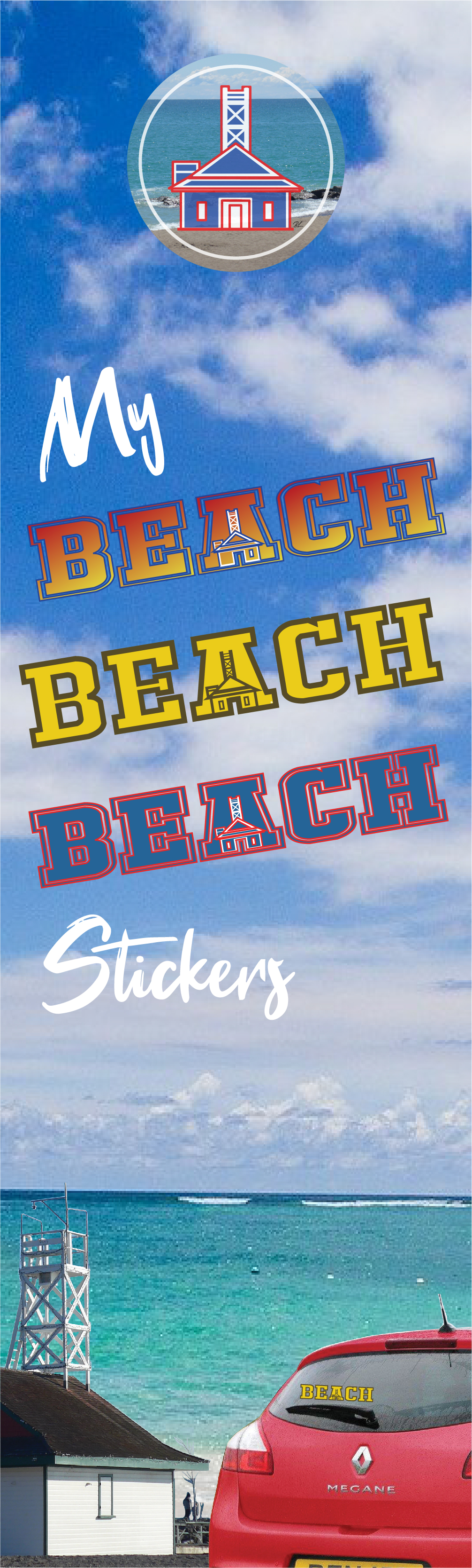 BEACH Sticker Banner