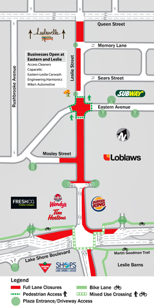TTC Leslie/Eastern intersection closure ttc map